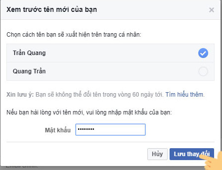 doi ten facebook tren may tinh