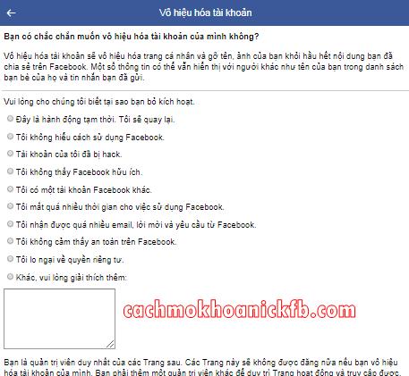 khoa facebook tam thoi bang dien thoai