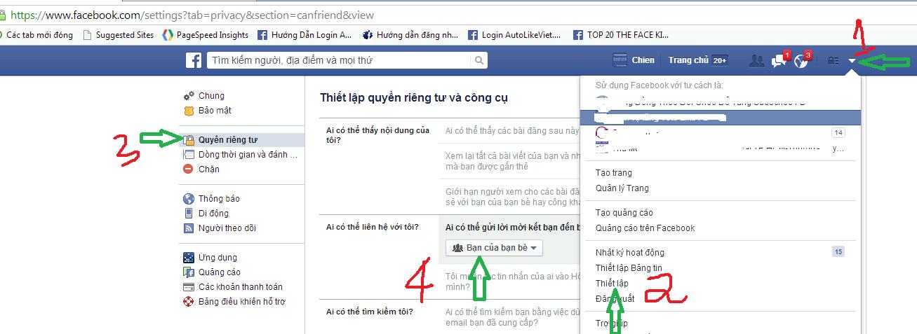 cách bật nút kết bạn trên facebook